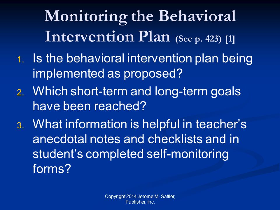 Monitoring the Behavioral Intervention Plan (See p. 423) [1]